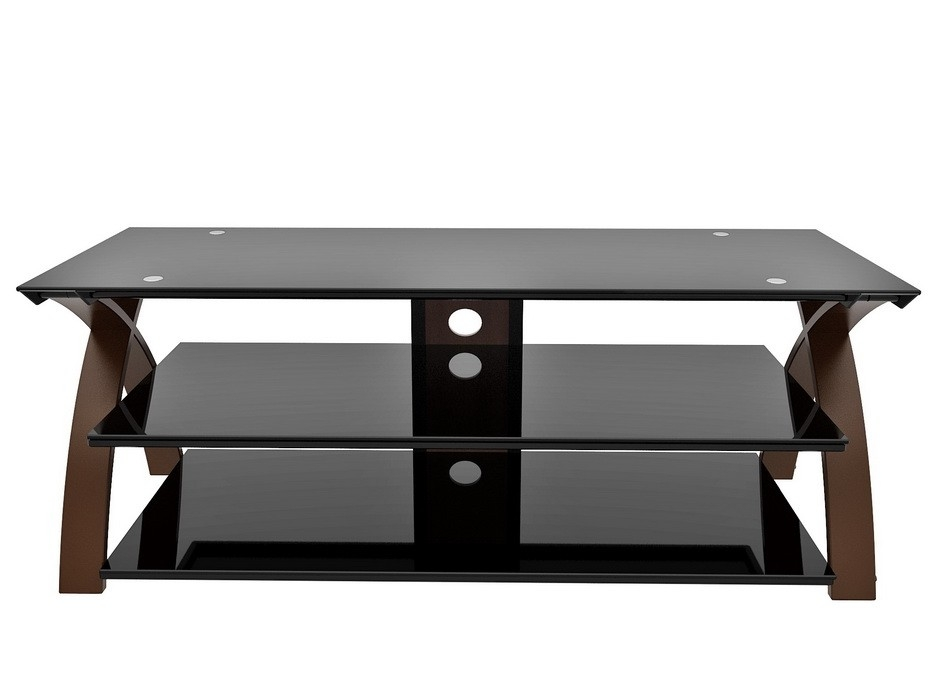 Brilliant Wellliked Oval Glass TV Stands Intended For Contemporary Tv Stand Up To 65 Glassespresso Sam Levitz (View 26 of 50)