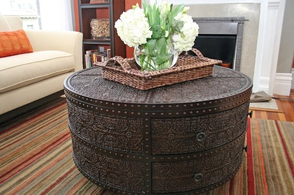 Brilliant Wellliked Round Upholstered Coffee Tables Regarding Furniture Upholstered Coffee Table With Bottom Shelf The (Image 12 of 40)