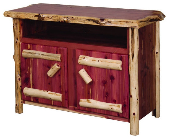 Brilliant Wellliked Rustic Red TV Stands With Regard To Rustic Red Cedar Log Tv Stand Rustic Entertainment Centers And (View 6 of 50)