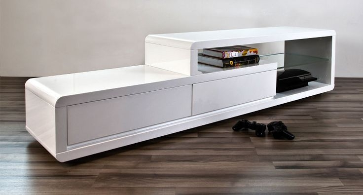 Brilliant Wellliked Sleek TV Stands In Alessia White Gloss Tv Table Tv Tables Glass Shelves And High Gloss (Image 14 of 50)