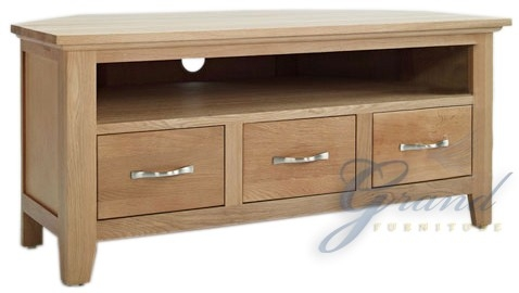 Brilliant Wellliked Solid Oak Corner TV Cabinets Intended For Cambridge Solid Oak Corner Tv Cabinet (Image 12 of 50)