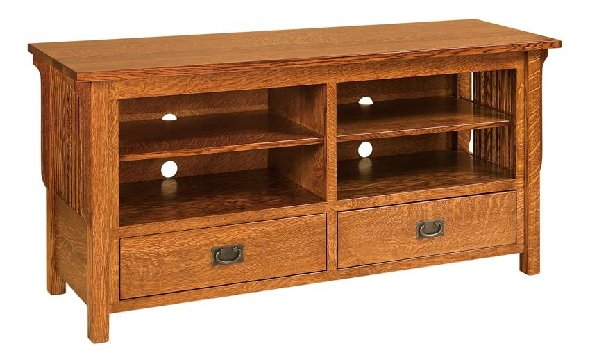 Brilliant Wellliked Solid Oak TV Stands For Amish Lancaster Mission Tv Stand Open (Image 12 of 50)