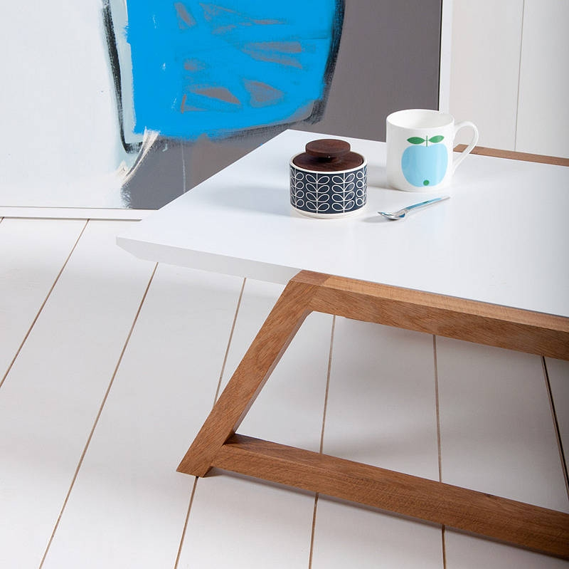 Brilliant Wellliked White And Oak Coffee Tables With Regard To Hugo Square Coffee Table High Gloss White And Oak Base White (Image 13 of 50)