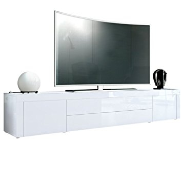 Brilliant Wellliked White TV Stands For Tv Stand Unit La Paz Carcass In White High Gloss Front In White (Image 12 of 50)