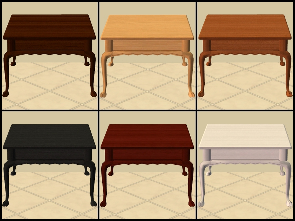 Brilliant Widely Used Colonial Coffee Tables Pertaining To Mod The Sims Base Game Coffee Tables Recoloured Part (View 28 of 50)