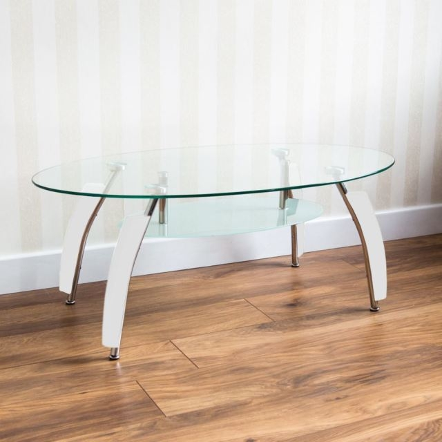 Brilliant Widely Used Elena Coffee Tables Throughout Elena Coffee Table Oval Clear White Legs Glass Shelf Modern (Image 14 of 40)