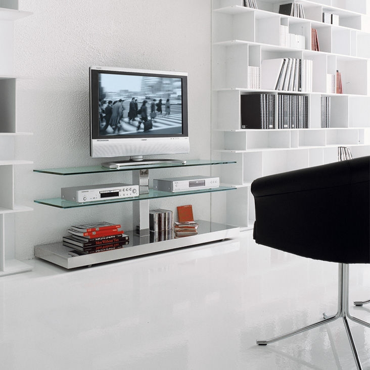 Brilliant Widely Used Glass TV Cabinets Regarding Contemporary Tv Cabinet Glass Stainless Steel Play Paolo (Image 18 of 50)