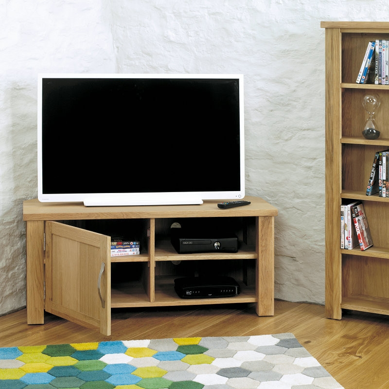 Brilliant Widely Used Light Oak Corner TV Stands Throughout Tv Stands Inspiring Corner Television Stands 2017 Collection (View 41 of 50)