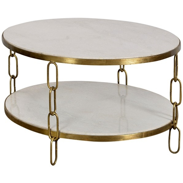 Brilliant Widely Used Marble Round Coffee Tables Pertaining To Dovetail Round Coffee Table Ironmarble Candelabra Inc (View 44 of 50)