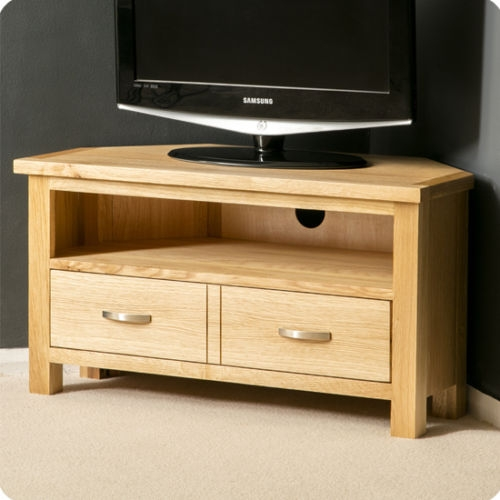 Brilliant Widely Used Oak Corner TV Stands Intended For London Oak Corner Tv Stand Plasma Tv Cabinet Solid Wood Tv (Image 14 of 50)