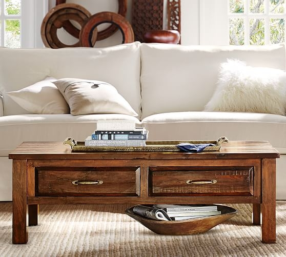 Brilliant Widely Used Reclaimed Wood Coffee Tables In Bowry Reclaimed Wood Coffee Table Pottery Barn (View 23 of 50)