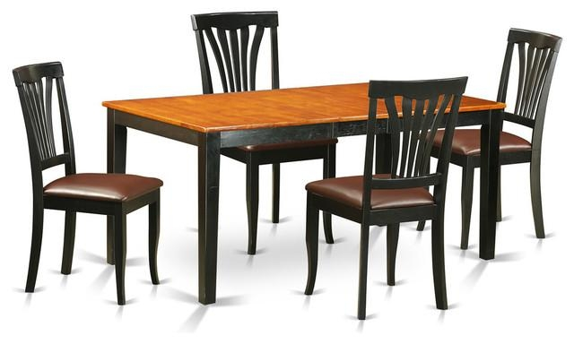 Brittany Dining Table Set, Black And Cherry, 5 Pieces With Brittany Dining Tables (Image 9 of 20)