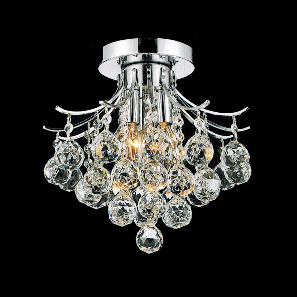 Brizzo Lighting Stores 12 Monarch Crystal Flush Mount Small For 4 Light Chrome Crystal Chandeliers (Image 4 of 25)