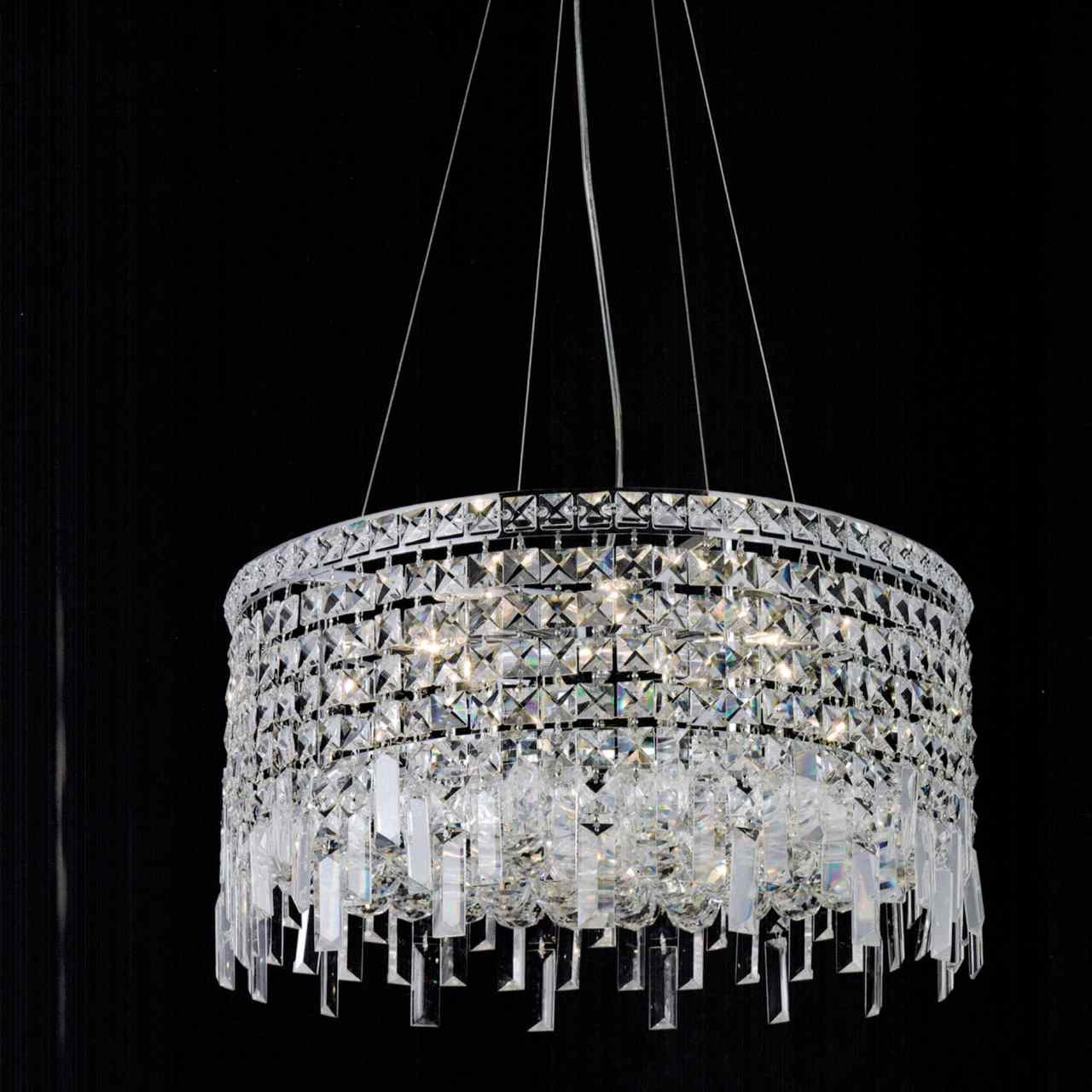 Brizzo Lighting Stores 16 Bossolo Transitional Crystal Round Pertaining To Chrome And Crystal Chandeliers (Image 7 of 25)
