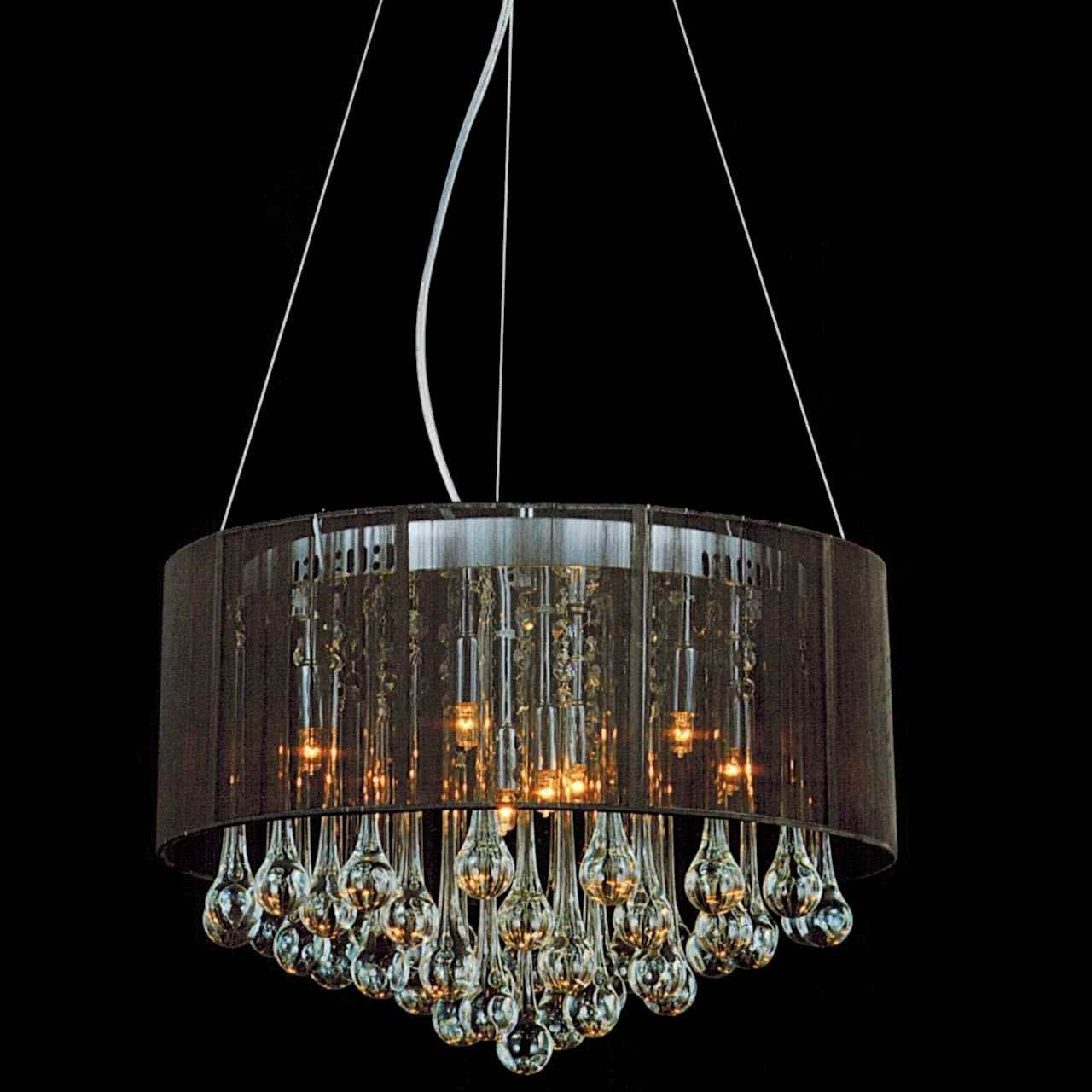 Brizzo Lighting Stores 18 Gocce Modern String Drum Shade Crystal Regarding Chandelier With Shades And Crystals (Image 10 of 25)