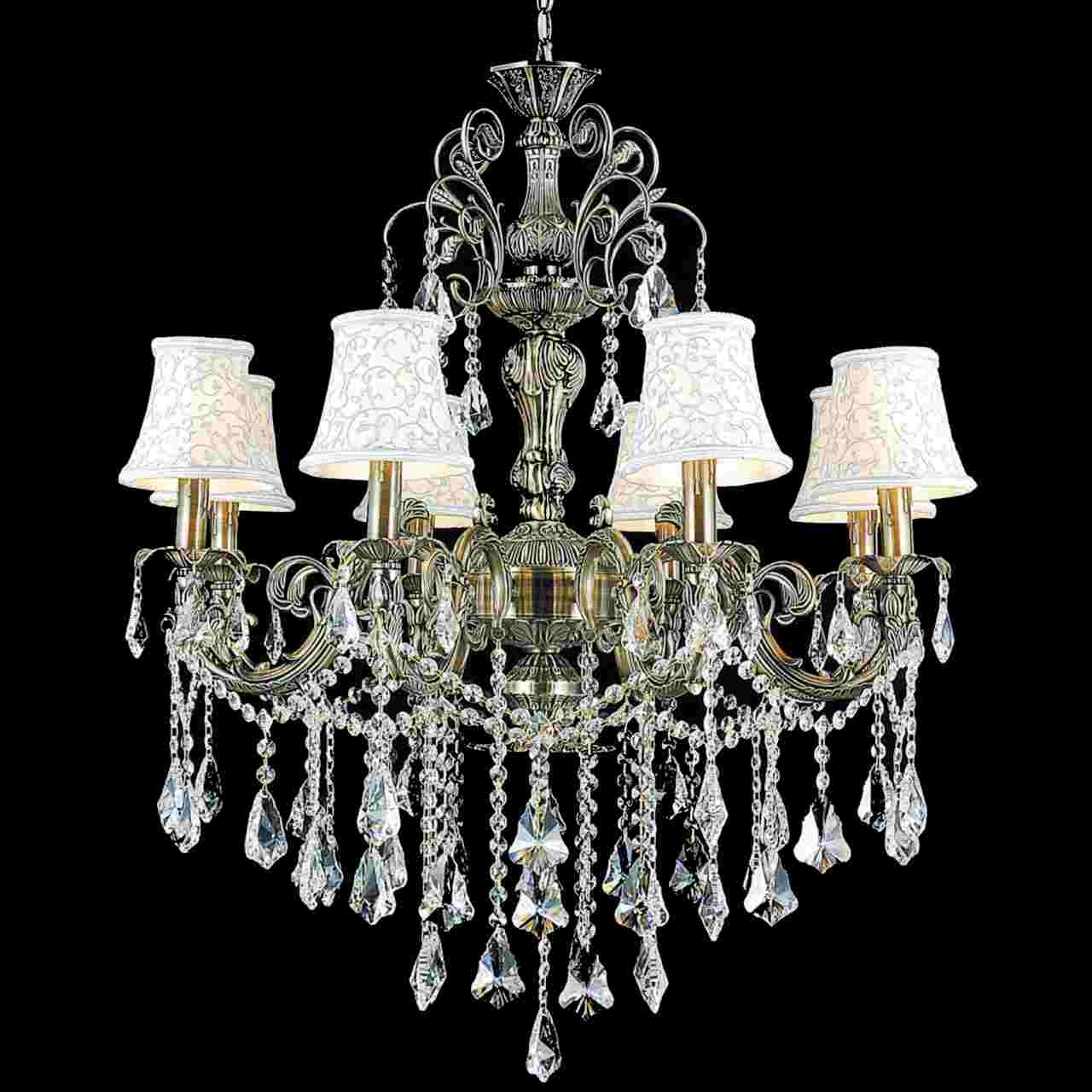 Brizzo Lighting Stores 30 Ottone Traditional Candle Round Within Chandelier With Shades And Crystals (Image 12 of 25)