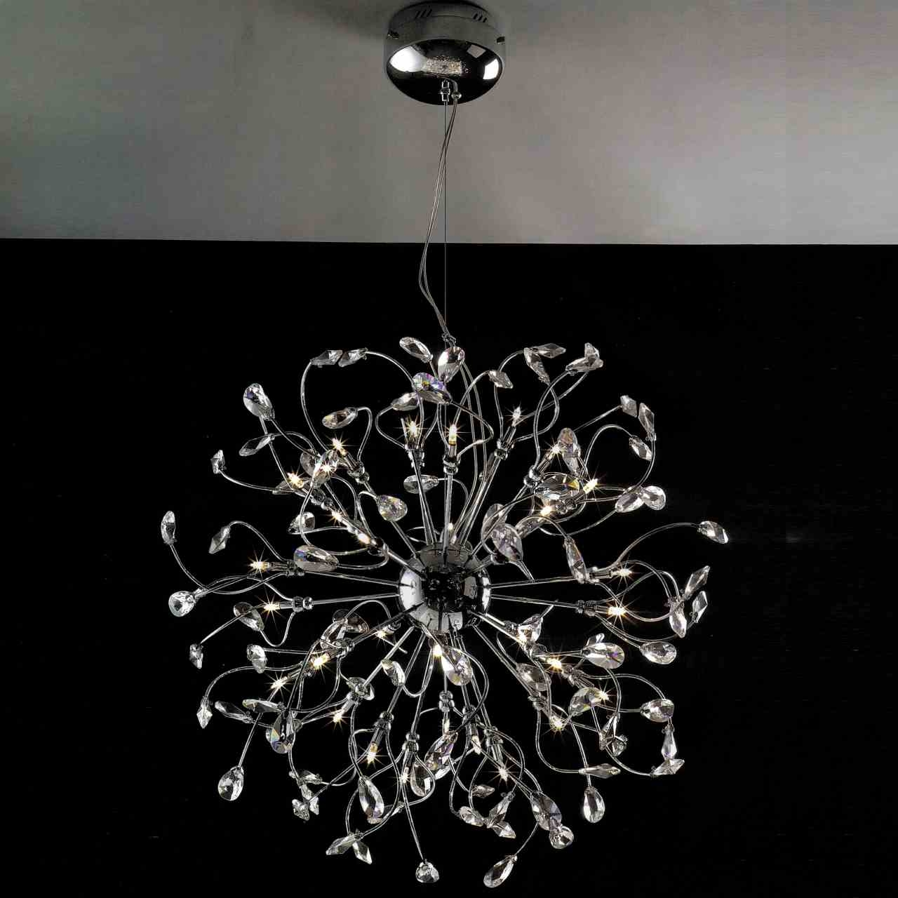 Brizzo Lighting Stores 30 Tempesta Modern Crystal Round In Crystal Chrome Chandeliers (Image 7 of 25)