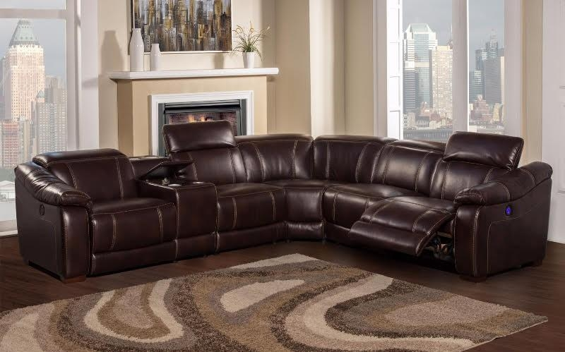 Brooklyn Brown Reclining 6 Piece Sectional Sofa With Bluetooth Throughout 6 Piece Sectional Sofas Couches (View 9 of 20)