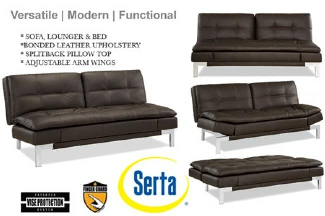 Brown Leather Sofa Bed Futon | Valencia Serta Euro Lounger | The Throughout Euro Lounger Sofa Beds (Image 7 of 20)