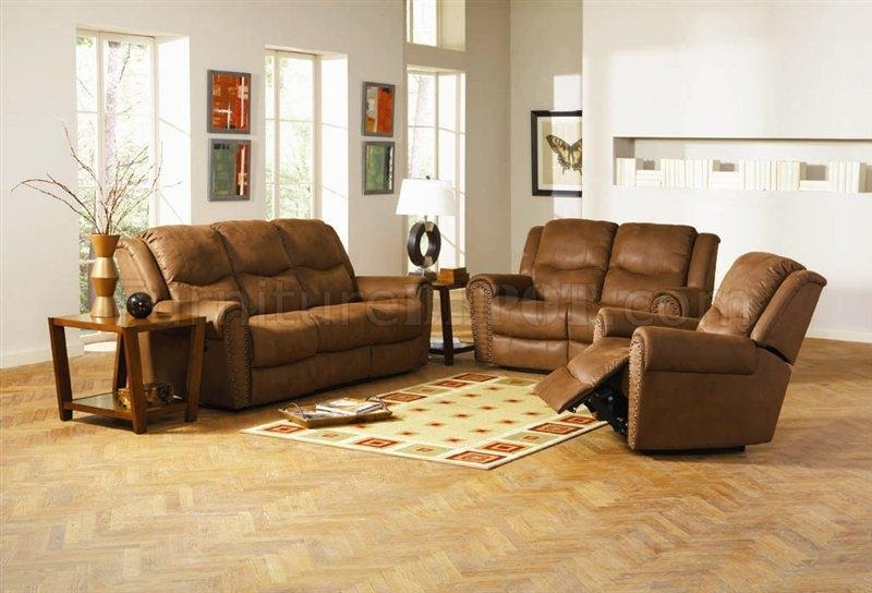 Brown Leather Style Fabric Classic Reclining Sofa & Loveseat Set Within Reclining Sofas And Loveseats Sets (Image 5 of 20)