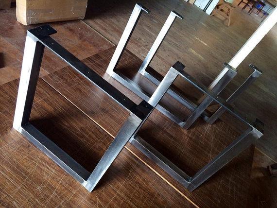 Brushed Square Metal Legs Table Legs Steel Legs Dining Legs For Brushed Steel Dining Tables (Image 7 of 20)