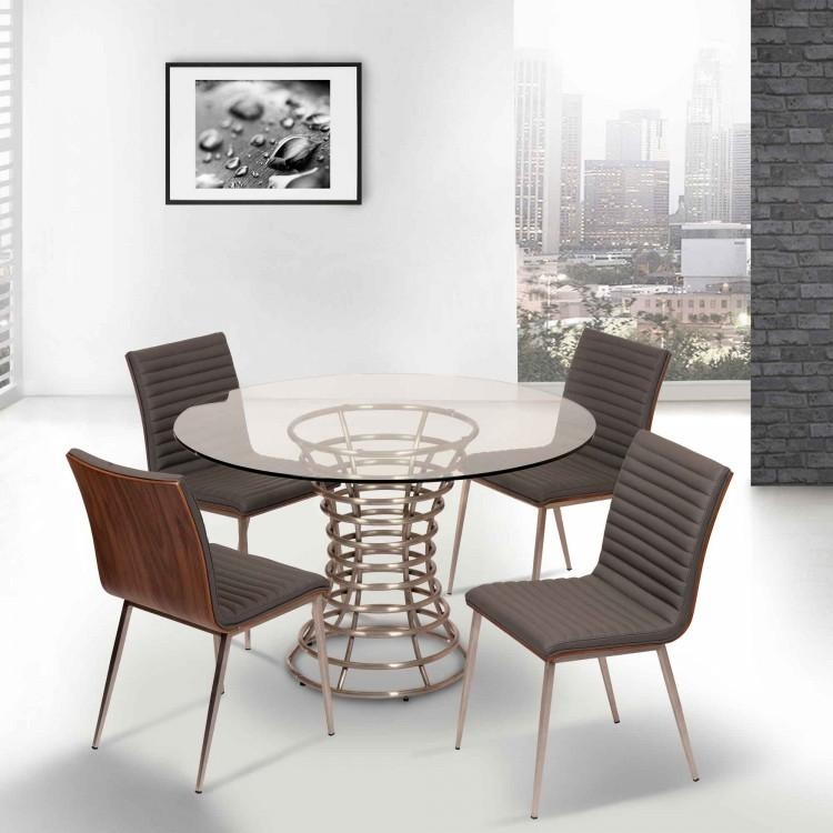 Brushed Stainless Steel Dining Table With Clear Glass Inside Glass And Stainless Steel Dining Tables (Image 5 of 20)