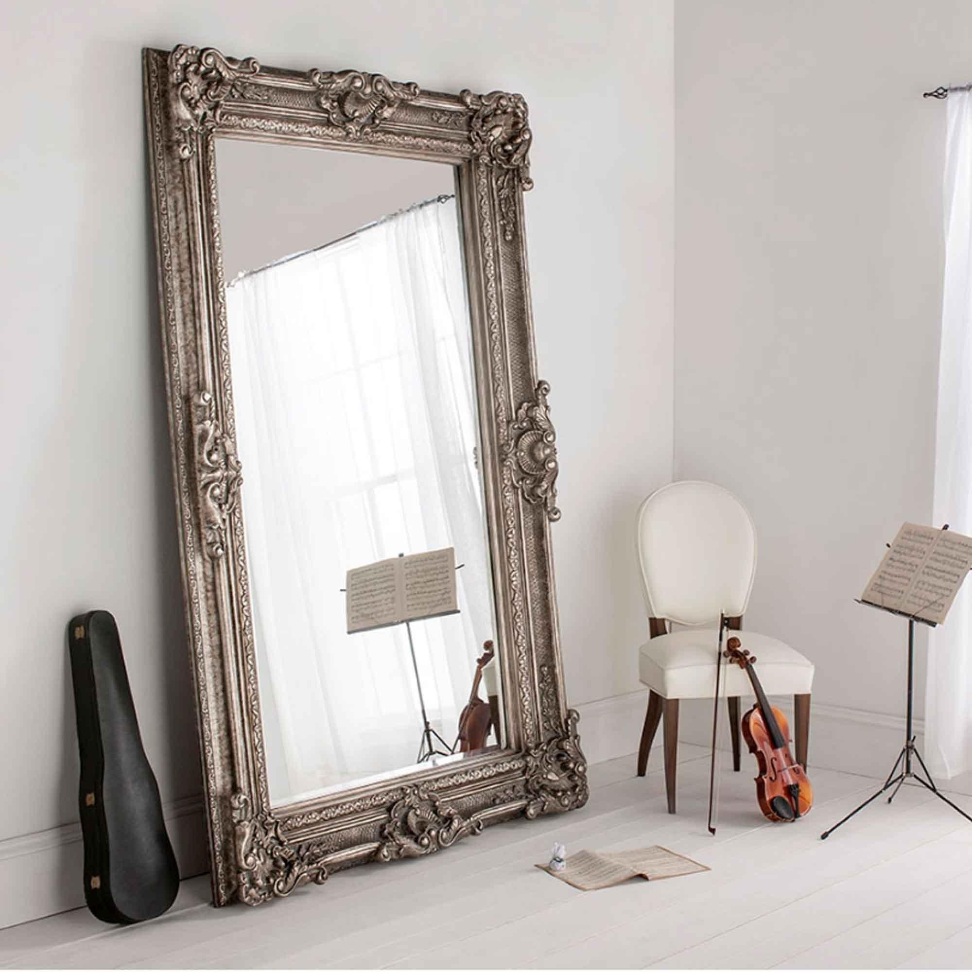 Buckingham Silver Antique French Style Floorstanding Mirror With Silver Antique Mirror (Image 9 of 20)