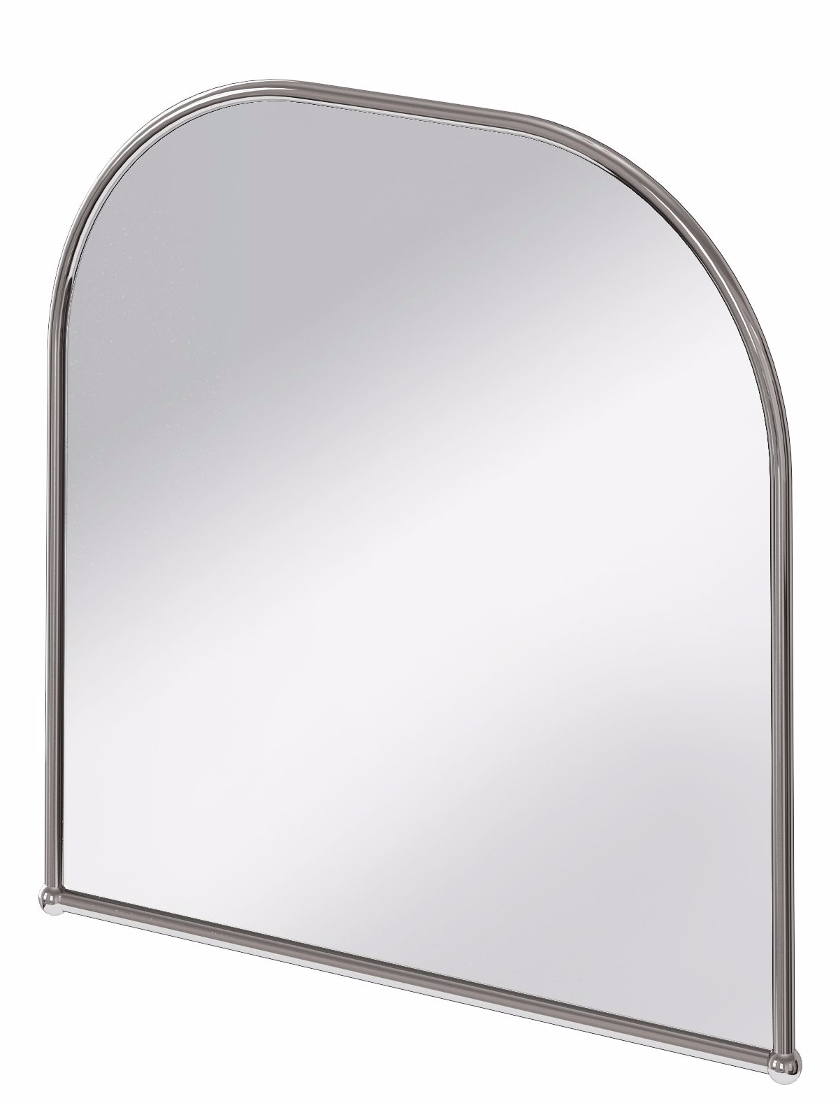 Burlington Curved Top Polished Stainless Steel Framed Traditional Pertaining To Curved Top Mirror (Image 10 of 20)