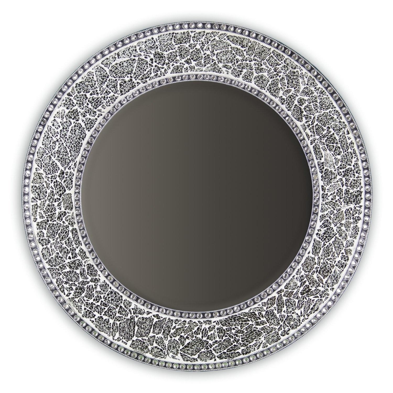 "Buy 24"" Silver Round Crackled Glass Mosaic Decorative Wall Mirror With Round Mosaic Mirrors (Image 2 of 20)"