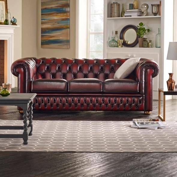 Buy A 3 Seater Chesterfield Sofa At Sofassaxon For Red Chesterfield Sofas (Image 5 of 20)