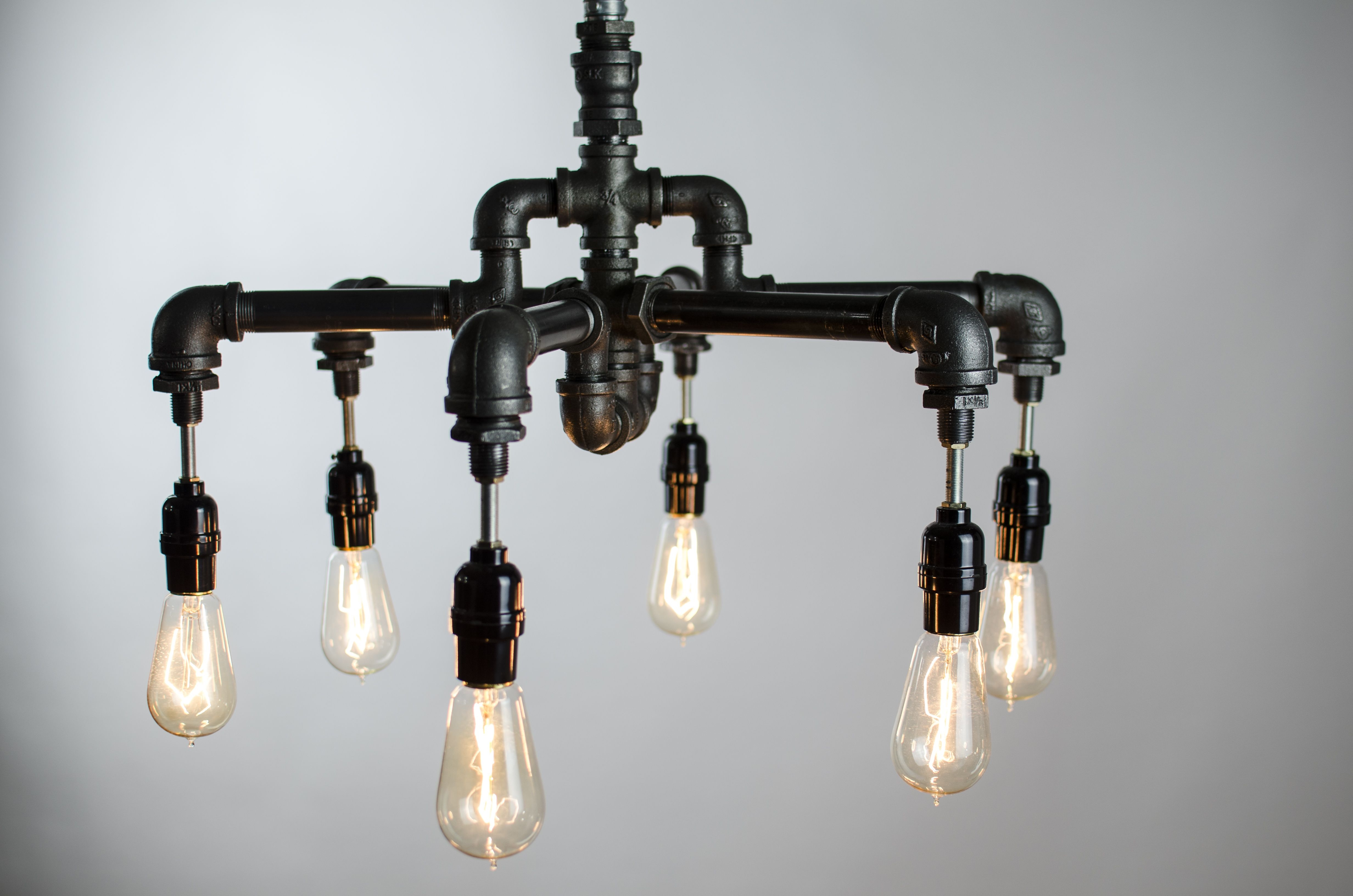 Buy A Hand Crafted 6 Edison Bulbs Industrial Lighting Chandelier Inside Light Fitting Chandeliers (Image 4 of 25)