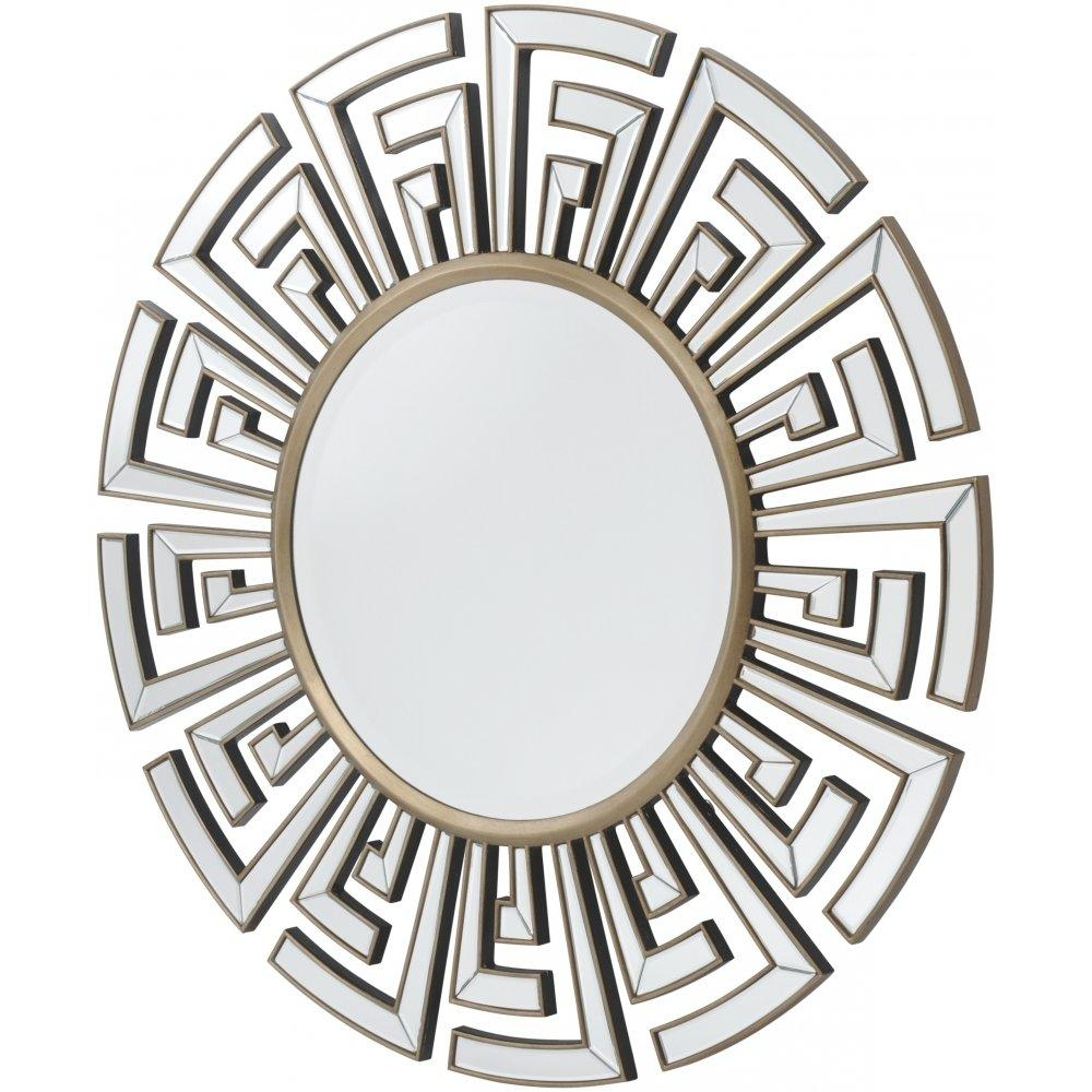 Buy Art Deco Aztec Style Large Circular Mirror From Fusion Living Pertaining To Buy Art Deco Mirror (Image 11 of 20)
