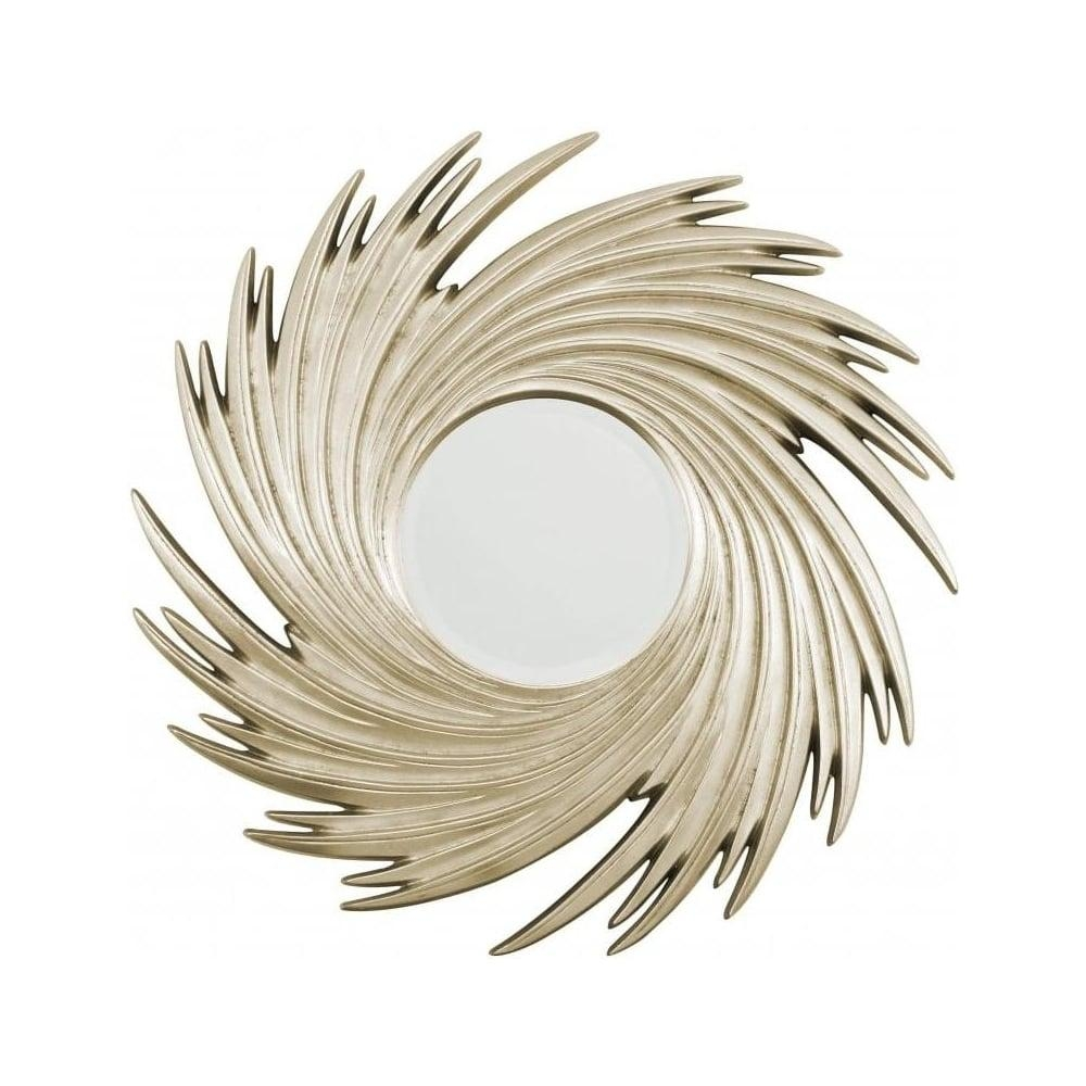 Buy Circular Champagne Gold Sweeping Mirror From Fusion Living Throughout Champagne Mirror (Image 2 of 20)