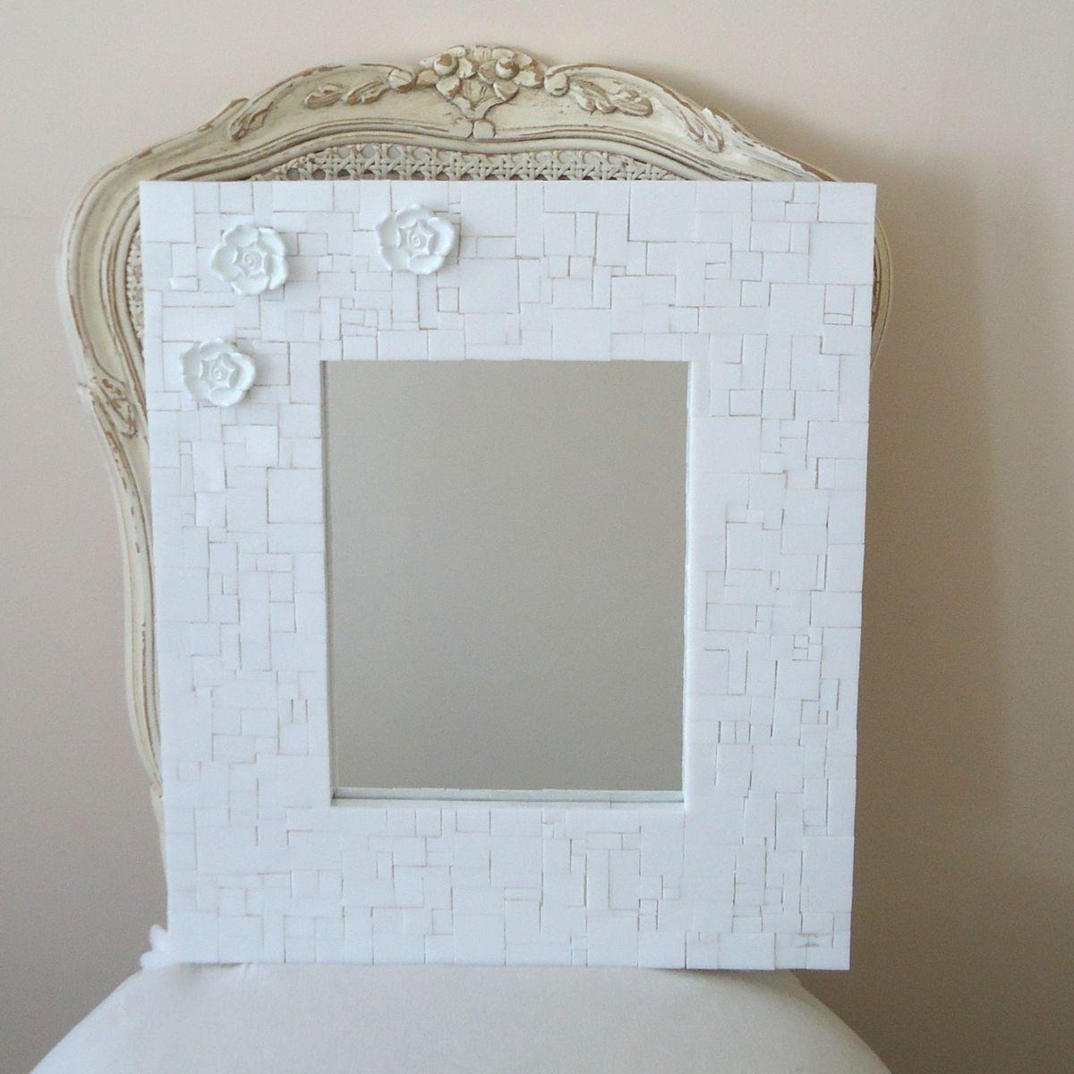 Buy Custom Made Mosaic Decorative White Wall Mirror With 3 Flowers Inside White Decorative Mirrors (View 4 of 20)