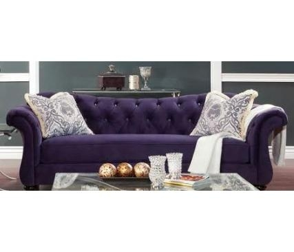 Buy Furniture Of America Sm2222 Sf Antoinette Sofa In Purple With Antoinette Sofas (Image 10 of 20)