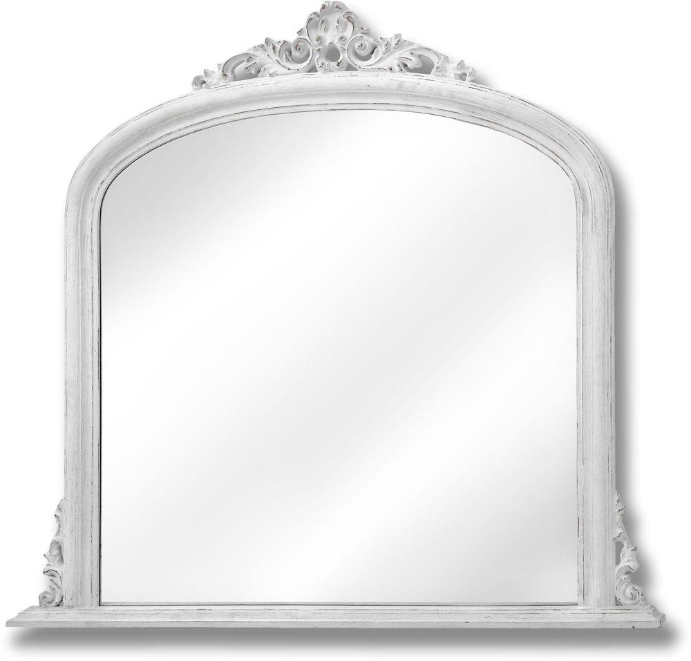 Buy Hill Interiors Antique White Over Mantle Mirror Online – Cfs Uk With Regard To White Overmantle Mirror (Image 6 of 20)