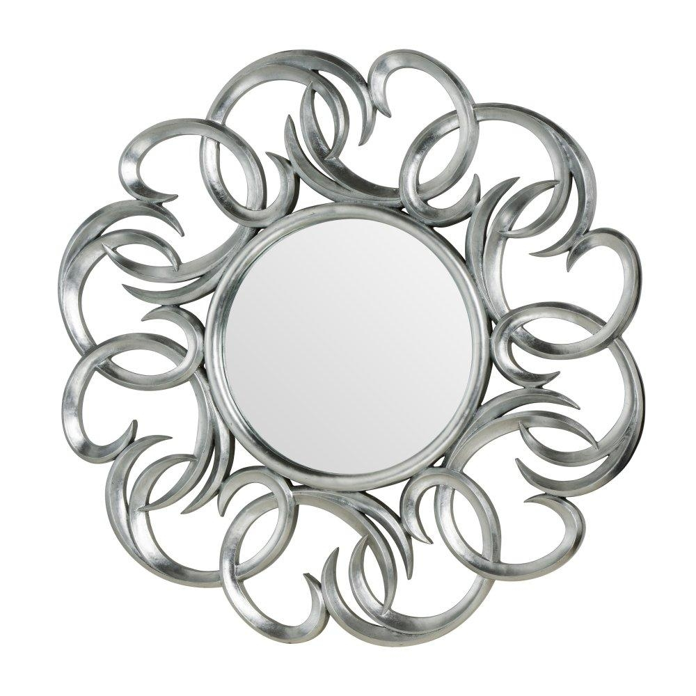 Buy Large Circular Silver Swirl Wall Mirror From Fusion Living In Large Round Silver Mirror (Image 4 of 20)
