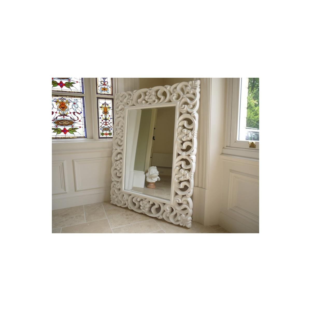 Buy Large French White Ornate Wall Mirror | Swanky Interiors Intended For Large White French Mirror (Image 3 of 20)
