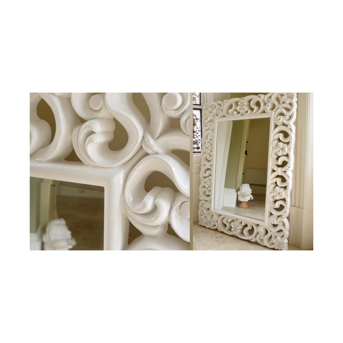Buy Large French White Ornate Wall Mirror | Swanky Interiors Throughout Large White French Mirror (Image 5 of 20)