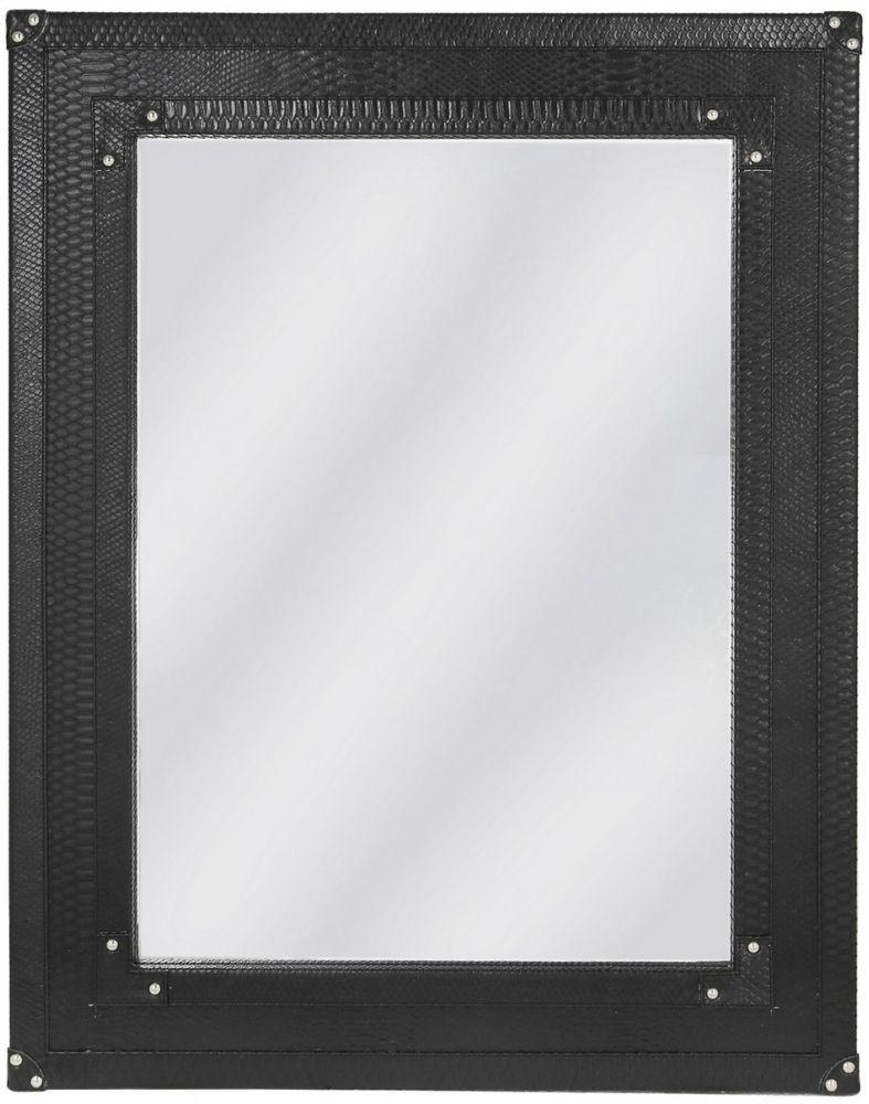 Buy Mandarin Snakeskin Faux Leather Black Beveled Wall Mirror In Black Faux Leather Mirror (View 7 of 20)