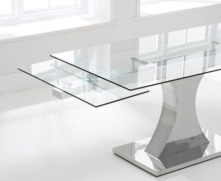 Buy Mark Harris Amber 160Cm Glass Extending Dining Set With 6 Within Glass Extending Dining Tables (View 2 of 20)
