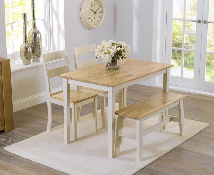 Buy Mark Harris Chichester Oak And Cream 115Cm Dining Table With 2 With Regard To Chichester Dining Tables (View 12 of 20)