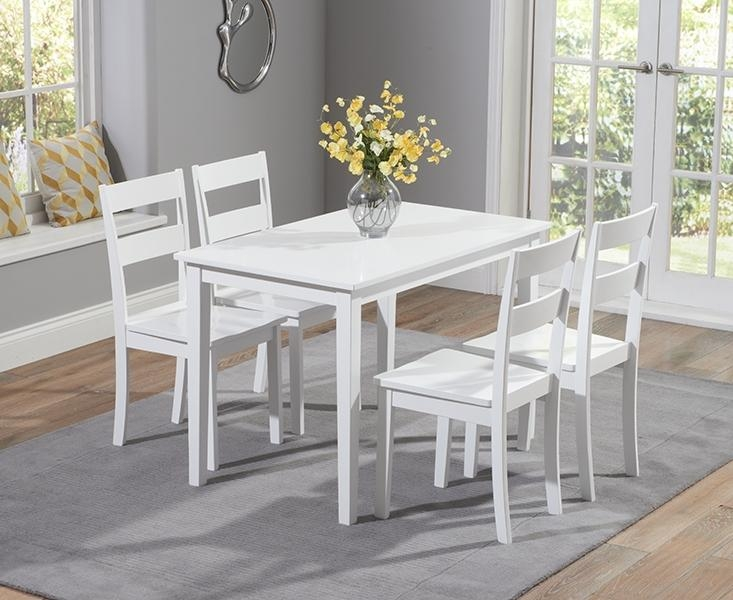 Buy Mark Harris Chichester White 115Cm Dining Set With 4 Dining For Chichester Dining Tables (View 17 of 20)