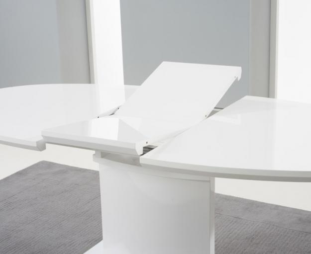 Buy Mark Harris Seville White High Gloss 160Cm 200Cm Extending Pertaining To White Extendable Dining Tables (Image 2 of 20)