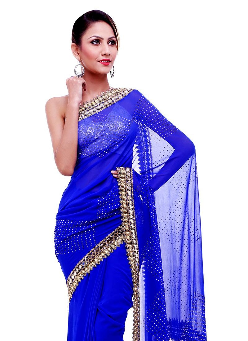 Buy Mirror Work N Stones Blue Saree, Sari Online Shopping, Sadaftrr017 Regarding Online Shopping Mirror (View 19 of 20)