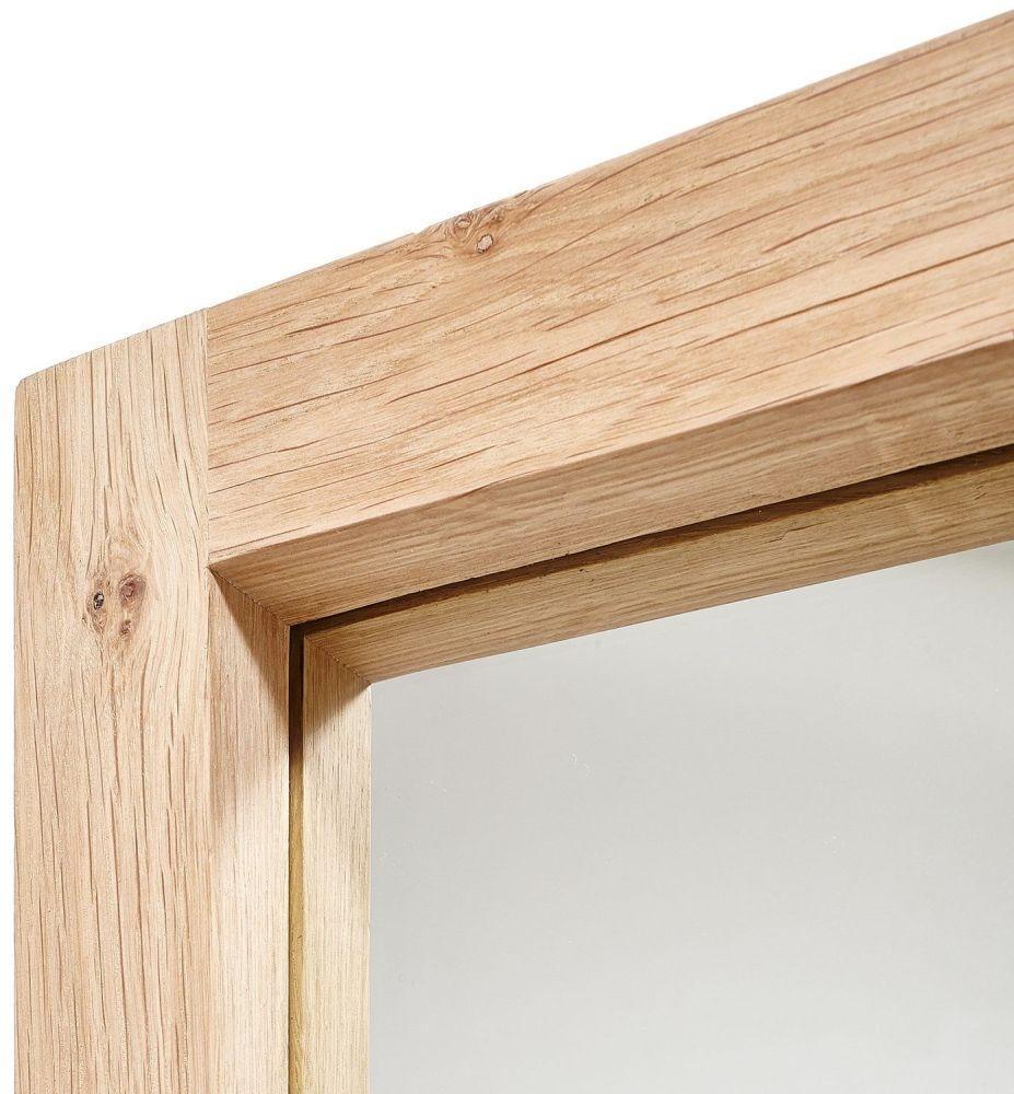 Buy Oak Light Frame Large Mirror Online – Furntastic Intended For Large Oak Mirrors (Image 2 of 20)