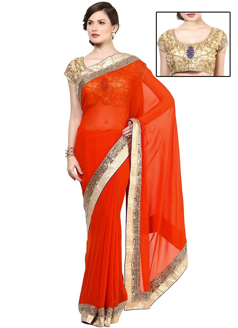 Buy Orange Georgette Mirror Work Bordered Saree, Sari Online Pertaining To Online Shopping Mirror (View 5 of 20)