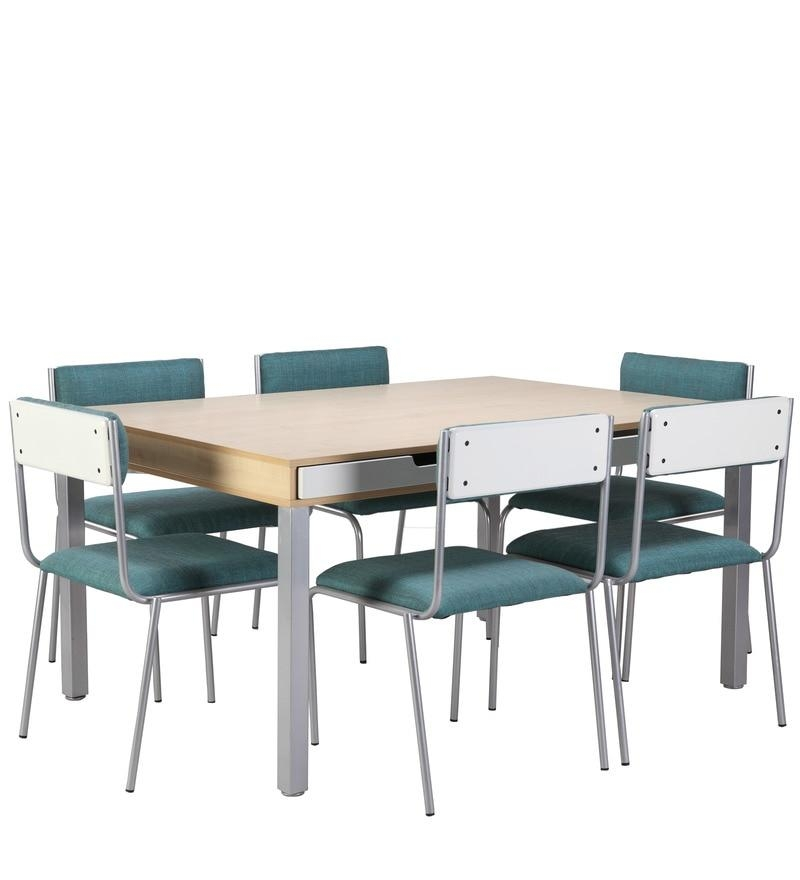 Buy Sleek Six Seater Dining Table With Drawers With Maple Finish Pertaining To Sleek Dining Tables (Image 5 of 20)