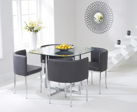 Buy The Algarve Glass Stowaway Dining Table With Grey High Back Intended For Stowaway Dining Tables And Chairs (View 4 of 20)