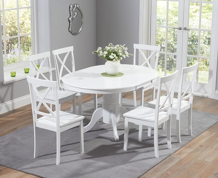 Buy The Epsom White Pedestal Extending Dining Table Set With For Extending Dining Table And Chairs (Image 5 of 20)